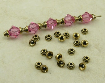 4mm Stepped Tiny Bead Caps > Small Cap Ribbed Graduated Qty 20 - TierraCast Gold Plated Lead Free Pewter - I ship Internationally NP