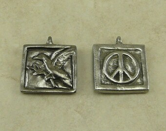 Peace Dove Green Girl Charm Pendant - Bird Symbol Olive Branch World Peace Square - American Artist Made Lead Free Pewter Silver 439