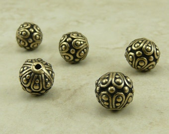 5 TierraCast Ornate Casbah Round Beads > Exotic Bali Style - Brass Ox Plated Lead Free Pewter - I ship internationally 5626