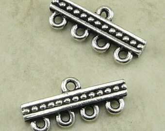 2 TierraCast Beaded 4-1 Link Bead Bar Connectors - Silver Plated LEAD FREE Pewter bead - 3139