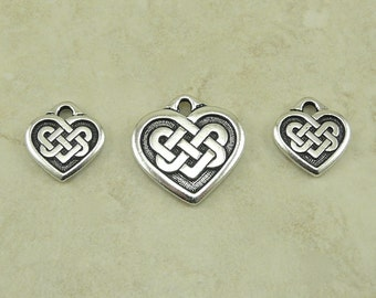 3 TierraCast Heart Shaped Celtic Knot Charm & Pendant Trio > Love Irish Ireland - Fine Silver Plated Lead Free Pewter I ship Internationally
