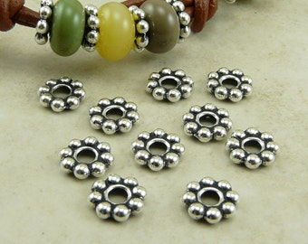 Large Hole Daisy Spacer Beads 8mm Qty 10 TierraCast  > Silver Plated LEAD FREE Pewter - I ship Internationally NP