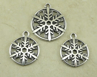 3 TierraCast Snow Flake Pendant and Charm Mix - Fine Silver-plated Lead Free Pewter - I ship Internationally
