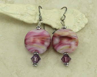 Melted Petal Hues Lampwork Bead Earrings - Pink Love Valentines Day Bridal Wedding Purple Crystal - Hypoallergenic Niobium Ear Wires E4-28