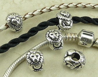 Leo Lion Animal Euro Beads > King Cecil Simba Africa Safari Qty 4 - TierraCast Fine Silver Plated Lead Free Pewter I ship Internationally NP