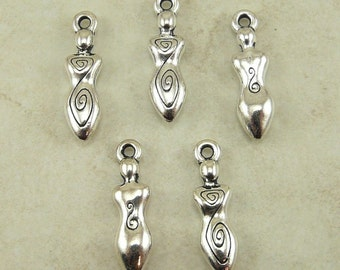 Spiral Goddess Charms TierraCast Qty 5 > Devine Feminine Mother - Silver Plated LEAD FREE Pewter - I ship Internationally NP