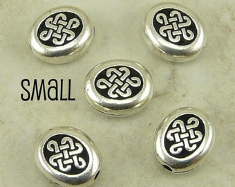 5 TierraCast Small Endless Celtic Knot Beads > Irish St Patrick's Day Ireland - Silver Plated LEAD FREE Pewter 5541