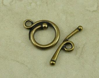 1 TierraCast Renaissance Toggle Clasp * Round Swirl Spiral Flourish - Brass Ox Plated Lead Free Pewter - I ship Internationally NP