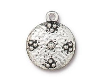 Opulence Charms > Elegant Bali Style Round Disc Beaded Dots Qty 5 - TierraCast Silver Plated Lead Free pewter Ship Internationally NP