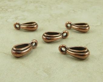5 TierraCast Nouveau Necklace Pendant Bails > Copper Plated LEAD FREE Pewter - I ship Internationally 5629