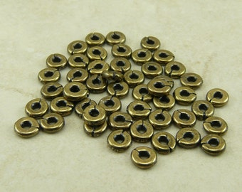 50 TierraCast 4mm Kenyan Heishi Spacer Beads > Disc Washer Disk Donut - Brass Ox Plated Lead Free Pewter - I ship internationally 0405