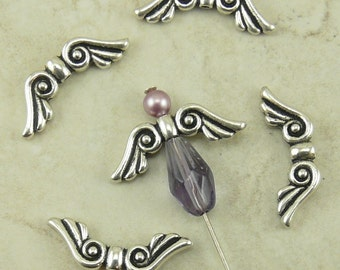 5 TierraCast Small Angel Fairy Wing Beads - Silver Plated LEAD FREE Pewter - I ship internationally 5674