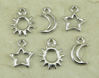 Sun Moon and Star Open Charms Mix Pack TierraCast Qty 6 Stellar Milky Way Outer Space Rhodium plated Lead Free Pewter I ship Internationally