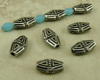 5 Diamond Bicone Beads / Tribal Aztec Egyptian Triangle Beaded Ornate Flat - Raw American Made Lead Free Pewter - I ship internationally