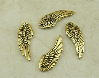 4 TierraCast Angel Wing Charms > Cupid Love Valentine Fairy - 22kt Gold plated Lead Free Pewter - I ship Internationally - 2341