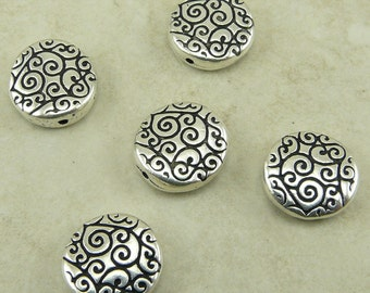 5 TierraCast Round Scroll Beads - Swirl Zen Doodle Spiral Celtic Ornate - Silver Plated Lead Free Pewter - I ship internationally