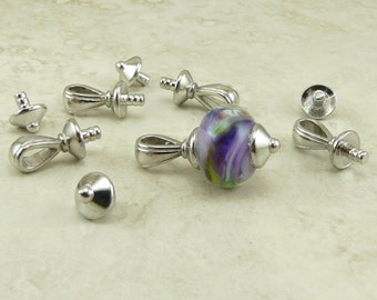 Glue In Pendant Bails with Caps TierraCast Nouveau Bail Qty 4 sets * Rhodium plated Lead Free Pewter - I ship Internationally NP