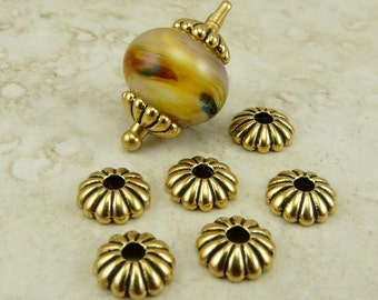 6 TierraCast 10mm Large Hole Joy Bead Cap > 22kt Gold Plated Lead-Free Pewter - I ship Internationally 5696