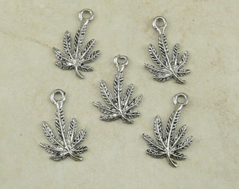 5 Marijuana Cannabis Leaf Leaves Charms > Legalize Medical Pot 420 - Raw American Made Lead Free Silver Pewter - I ship Internationally