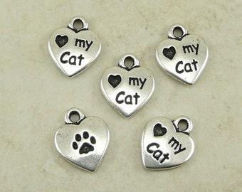 Love My Cat Heart Charms > Kitty Feline Companion Meow Qty 5 - TierraCast Silver Plated Lead Free Pewter - I ship Internationally NP