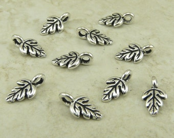 Oak Leaf Charms - Small Tree Leaves Ornate Garden Spring Qty 10 - TierraCast Silver Plated Lead Free Pewter  - I ship internationally NP