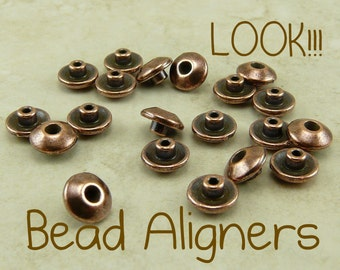 20 TierraCast Bead 6mm Classic Bead Aligner Bead Caps * Copper Plated Lead Free Pewter - I ship Internationally NP