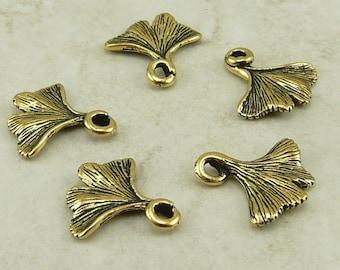 5 TierraCast Ginkgo Gingko Ginko Flower Charms > Garden Zen Yoga Herbal - 22kt Gold-plated Lead Free Pewter - I ship Internationally 2187