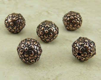 8mm Floral Round Flower Beads > Spring Bride Wedding Summer Qty 5 - TierraCast Copper Plated Lead Free Pewter - I ship Internationally NP