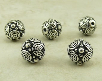 5 TierraCast 8mm Spiral Circles Beads > Bali Style Circle Celtic Swirl Zen - Fine Silver Plated Lead Free Pewter - I ship Internationally NP