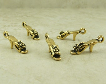 5 TierraCast Harlow Shoe Slipper Charms > 22kt Gold Plated Lead Free Pewter - I ship internationally 2212