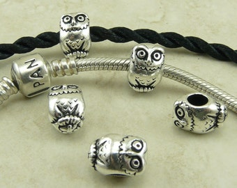 Owl Bird Animal Euro Bead > Hedwig Owl Post Harry Potter Qty 4 - TierraCast Fine Silver Plated Lead Free Pewter - I ship Internationally NP