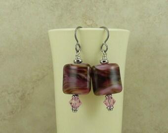 Luscious Black Forest Lampwork Bead & Swarovski Crystal Earrings > Mothers Valenties Day Chocolate - Hypoallergenic Niobium Ear Wires E4-30