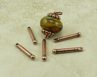 5 TierraCast 3/4 inch Bead Bars w/ Ball End > Lampwork Clay Large Hole Finding - Copper Plated Lead Free Pewter I ship Internationally 2240