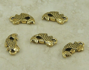 5 TierraCast Koi Fish Charms > Japanese Pond Tranquility Zen -  22kt Gold Plated Lead Free Pewter - I ship Internationally 2306