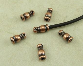 6 TierraCast 2mm Taj Leather Cord End > Copper Plated Lead Free Brass - I ship Internationally 0210