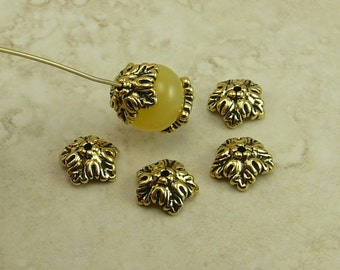 Oak Leaf Bead Caps TierraCast Qty 4 > Leaves Fall Autumn Tree Spring - 22kt Gold Plated Lead Free Pewter - I ship Internationally 5579