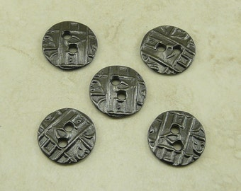 Buttons Round Coin Abstract Industrial Steampunk Texture TierraCast > Qty 5 Black Ox Plated LEAD FREE Pewter - I ship Internationally 6558