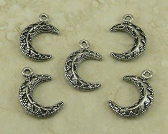 Crescent Moon Pendant Charms / Waxing Waning Bali Style Ornate Triangle - Raw American Made Lead Free Silver Pewter I Ship Internationally