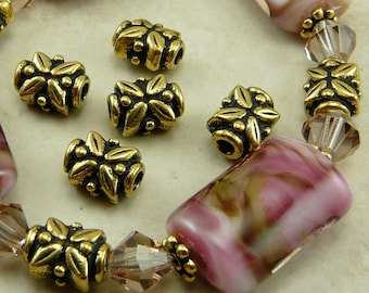 5 TierraCast Leaf Beads * Leaves Flower Floral Bali Style - 22kt Gold Plated Lead Free Pewter - I ship Internationally NP