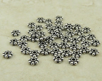 50 TierraCast 4mm Daisy Beaded Heishi Spacer Beads > Fine Silver Plated Lead-Free Pewter - I ship internationally 0408