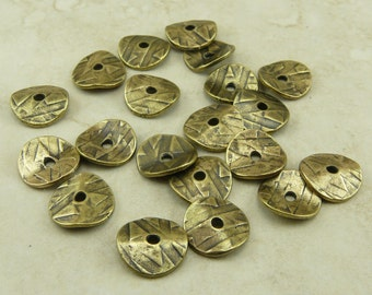 20 TierraCast 10mm Wavy Abstract Disc Cap Beads * Brass Ox Plated Lead Free Pewter - I ship Internationally - 0448