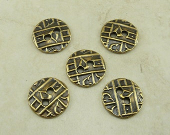 5 TierraCast Round Coin Abstract Industrial Steampunk Texture Buttons > Brass Ox Plated LEAD FREE Pewter - I ship Internationally 6558