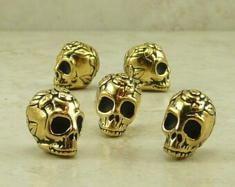 Rose Skull Beads > Gothic Halloween Gothic Day of the Dead Flower TierraCast QTY 5 22kt Gold Lead Free Pewter I ship internationally NP