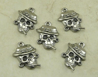 Skull Smoking Cigarette Charms > Hat Bow Earrings Biker Motorcycle Qty 5 Raw American Made Lead Free Silver Pewter - I ship Internationally