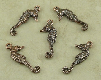 5 TierraCast Seahorse Sea Horse Charms > Beach Ocean Sea Life Aquarium - Copper Plated Lead Free pewter - I ship Internationally 2236