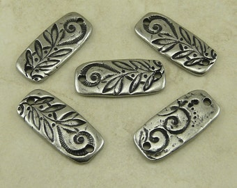 Flora Floral Jardin Connector Bar Swirl Flower Leaves Doodle TierraCast Antique Pewter Silver LEAD FREE I ship Internationally 3197