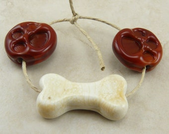 Made To Order - Dog Paw and Bone Lampwork Beads - SRA - Fido Doggy Dog Treat - I ship Internationally
