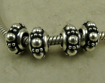 4 TierraCast 10mm Turkish Euro Slider Charm Bead * Fine Silver Plated Lead Free Pewter - I ship Internationally 5756