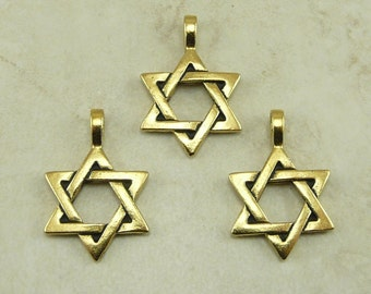 Star of David Pendant Charms Large TierraCast Passover Hanukkah Jewish QTY 3 - 22kt Gold Plated Lead Free pewter I ship Internationally 2227