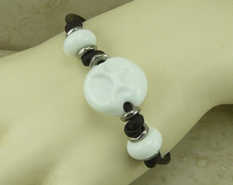 White Dog Paw Lampwork Bead Bracelet > Bone Snow Puppy Canine Mans Best Friend Rescue Love - Glass & Black Leather I ship Internationally